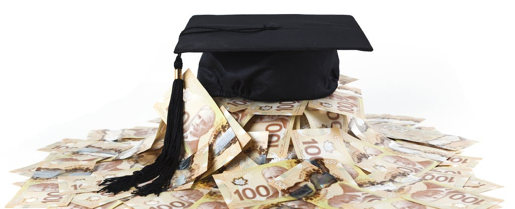 Graduation cap and large amount of canadian one hundred dollar bills