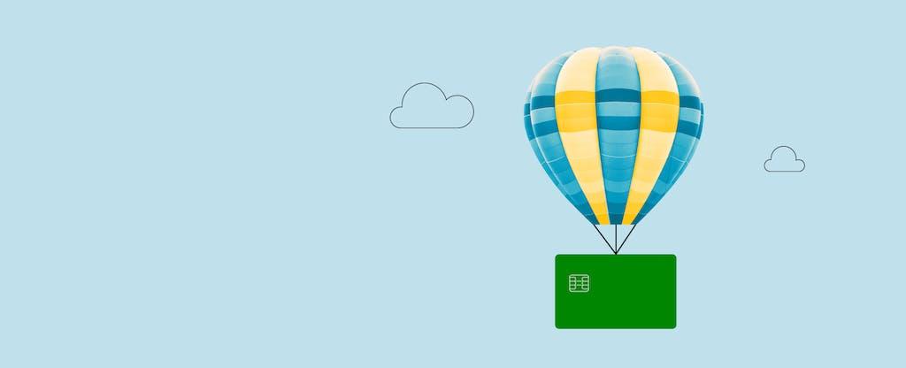 Card floating on balloon to represent coronavirus financial tips